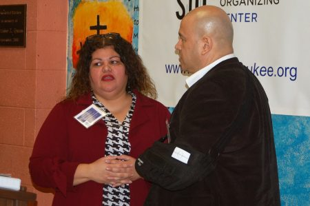 Tammy Rivera, executive director of the SOC, chats with Ald. Jose Perez. Photo by Edgar Mendez.
