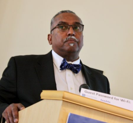 Milwaukee NAACP President Fred Royal addresses the group of nonprofit leaders. Photo by Jabril Faraj.