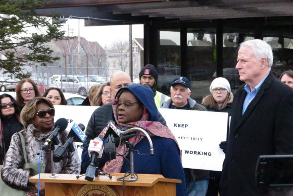 Rep. Gwen Moore speaks during a press conference denouncing the decision to close the Mitchell Street Social Security office in February. Photo courtesy of Wisconsin State AFL-CIO.