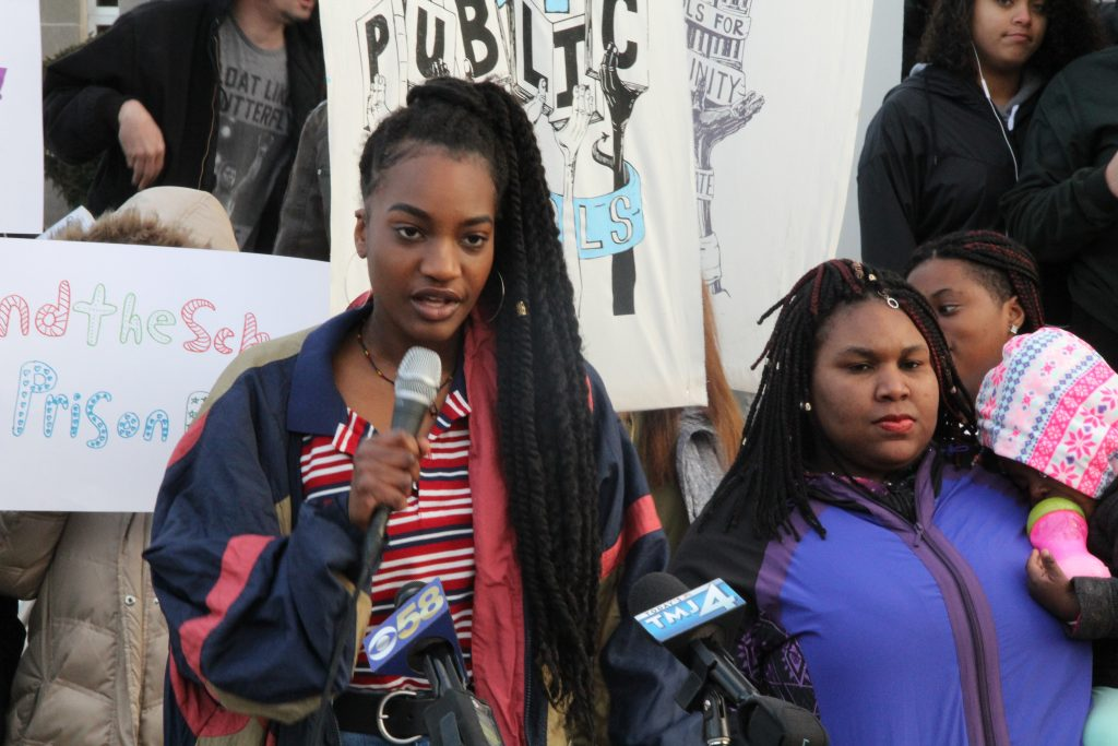 Joya Headley, a junior at Milwaukee School of Languages, gave a passionate speech. Photo by Dean Bibens.
