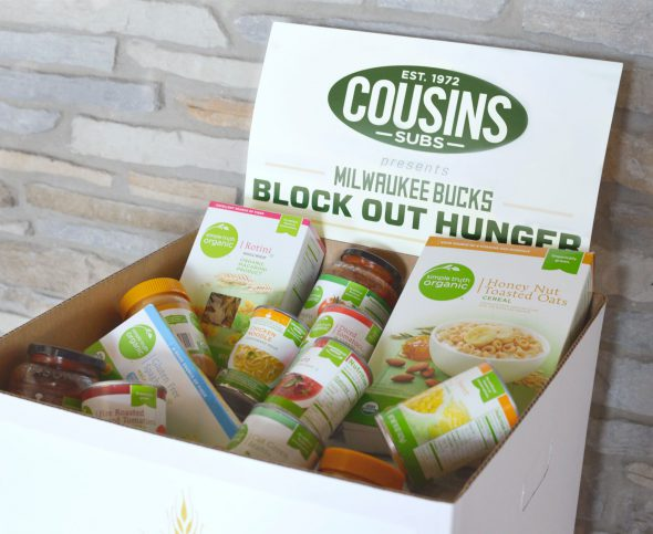As part of the third annual Block Out Hunger campaign, Cousins Subs is offering a buy-one-get-one-free 7 1/2-inch sub and a Bucks ticket offer to those who donate three nonperishable food items. Photo courtesy of Cousins Subs.