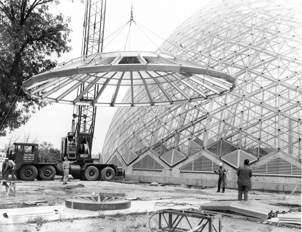 Construction of the Mitchell Park Domes, circa 1960. Download image. Photo from Milwaukee County Parks.