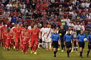 Liverpool FC and AS Roma before a match at Fenway Park, Boston. Photo by md.faisalzaman from Worcester, MA [CC BY 2.0 (http://creativecommons.org/licenses/by/2.0)], via Wikimedia Commons