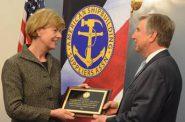 U.S. Senator Tammy Baldwin accepts the Honorable Thad Cochran Leadership Award from Chris Cikanovich, President of ASSA, on March 7, 2018. Photo from the Office of Senator Baldwin.