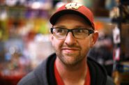 Matt Becker, 34, from Menasha, Wis., is a convicted sex offender who was released from supervision on July 23, 2015. Although Becker was convicted prior to a state statute that requires monitoring of certain sex offenders, he is required to wear a GPS unit for the rest of his life. Becker is seen at the store Retro-Revolution in Madison, Wis. on Nov. 17, 2017. He runs an antique and vintage business and was shopping for new items to sell. Photo by Coburn Dukehart / Wisconsin Center for Investigative Journalism.