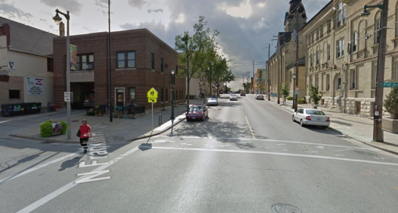 Few motorists yield to pedestrians at crossings like this one at Eeast Brady Street and North Franklin Place in Milwaukee. Image: Google Street View
