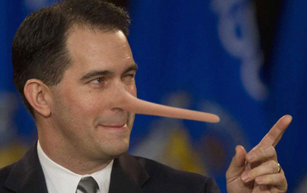 Scott Walker as Pinocchio. Photo illustration by Tom Bamberger.