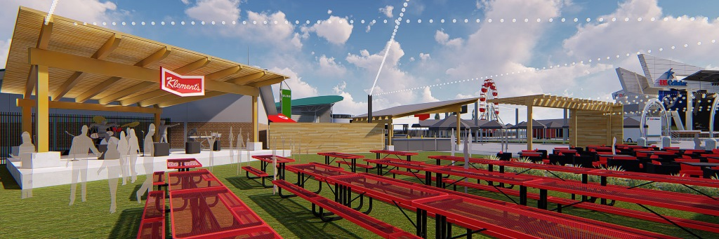 The Klement's Sausage & Beer Garden Rendering.