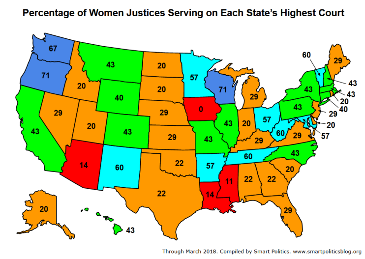 Percentage of Women Justices Serving on Each State's Highest Court