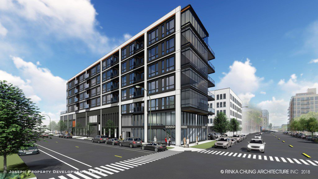 Apartment building planned by Joseph Property Development in the Third Ward. Rendering by Rinka Chung Architecture.