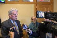 Alderman Robert Bauman speaks with the press following the Foxconn update. Photo by Jeramey Jannene.