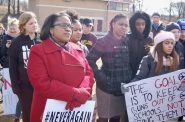 Darienne Driver (foreground), Milwaukee Public Schools superintendent, stands with the students at Rufus King International High School at a national school walkout for gun control last month. Photo by Andrea Waxman.