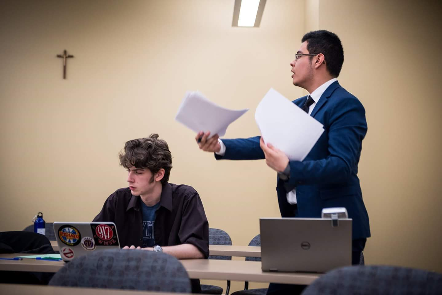 Daniel Montalvo (right) at the Urban Debate National Championship last year with his partner Harrison Tremarello. Photo courtesy of Daniel Montalvo.
