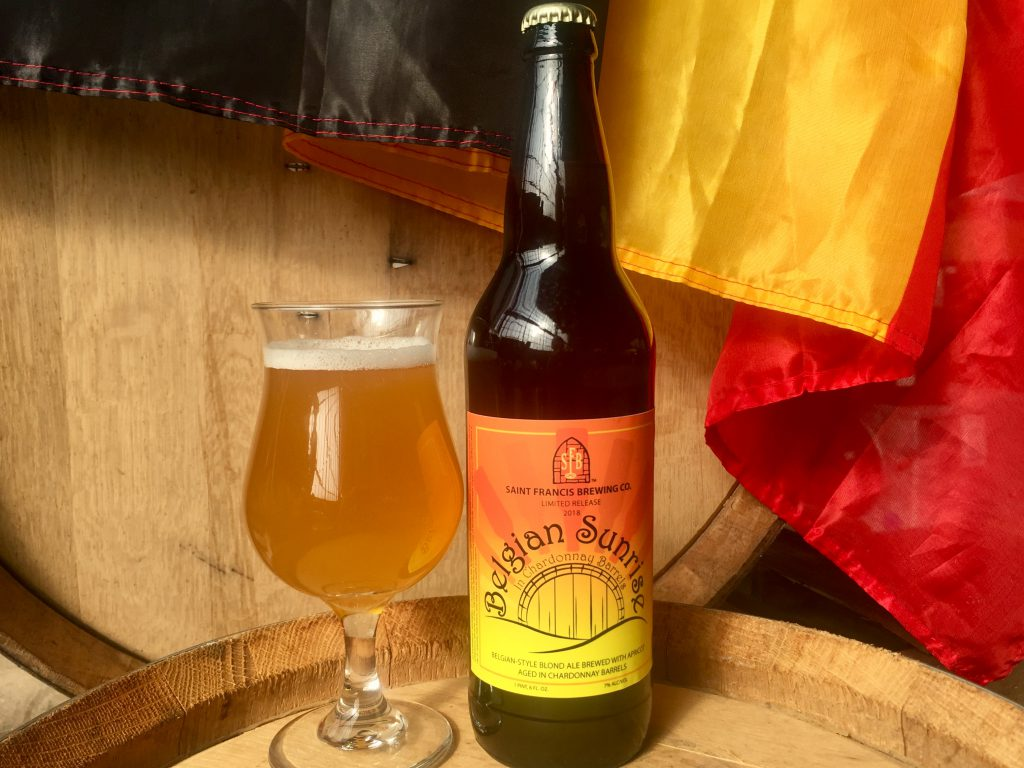 Belgian Sunrise in Chardonnay Barrels. Photo courtesy of St. Francis Brewery.