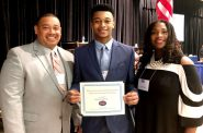 Cameron LeFlore of Milwaukee is one of four Wisconsin seniors to receive a 2018 Future Teacher scholarship from the Wisconsin Education Association Council. LeFlore, center, is pictured at the awards ceremony April 28 in La Crosse with his father, Shalamar, and mother, Frelesha, who is a member of the Milwaukee Teachers' Education Association. Photo courtesy of the Wisconsin Education Association Council.
