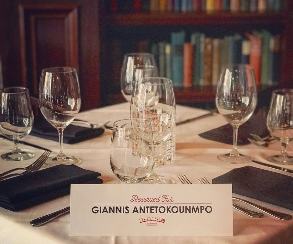 Rare Steakhouse reserves table for Giannis Antetokounmpo.