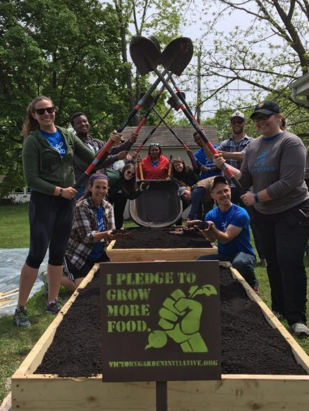 The Shovel Squad from the 2017 Great Milwaukee Victory Garden BLITZ. Photo courtesy of the Nonprofit Center of Milwaukee.