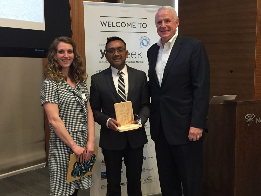 (From left): Angela Damiani, CEO of NEWaukee; Raj Patel, Vice President of Talent, Organization and Development for Northwestern Mutual; and Tom Barrett, Mayor of Milwaukee. Photo courtesy of WEDC.