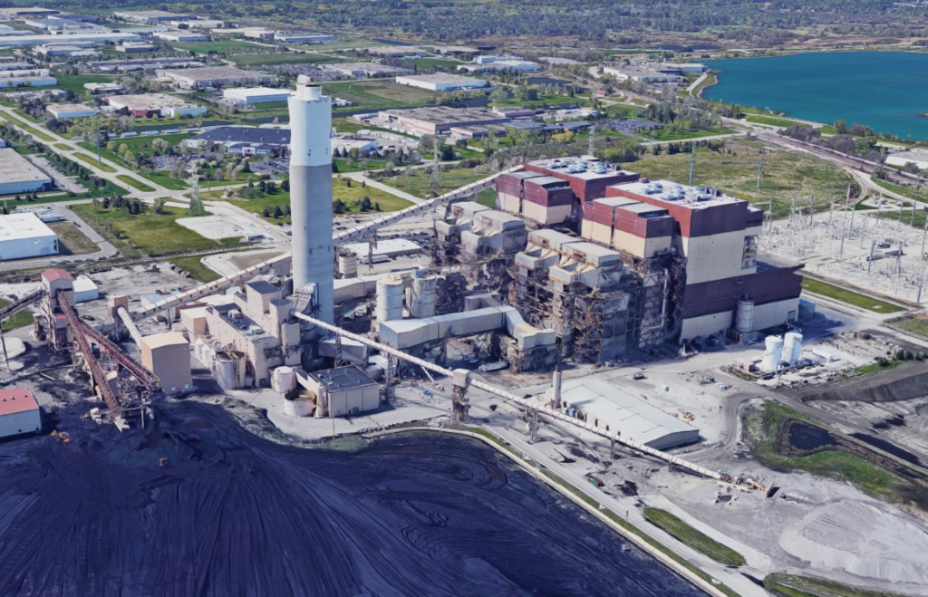 We Energies' Pleasant Prairie coal-fired power plant in southeastern Wisconsin was closed in April 2018. Photo from Google Earth.