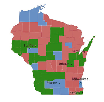 Key: Green - voted for Trump in 2016, Dallet in 2018. Red - voted for Trump in 2016, Screnock in 2018. Blue - voted for Hillary Clinton in 2016; Dallet in 2018.