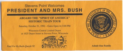 Stevens Point Welcomes President and Mrs. Bush. Photo courtesy of Gregory Humphrey.