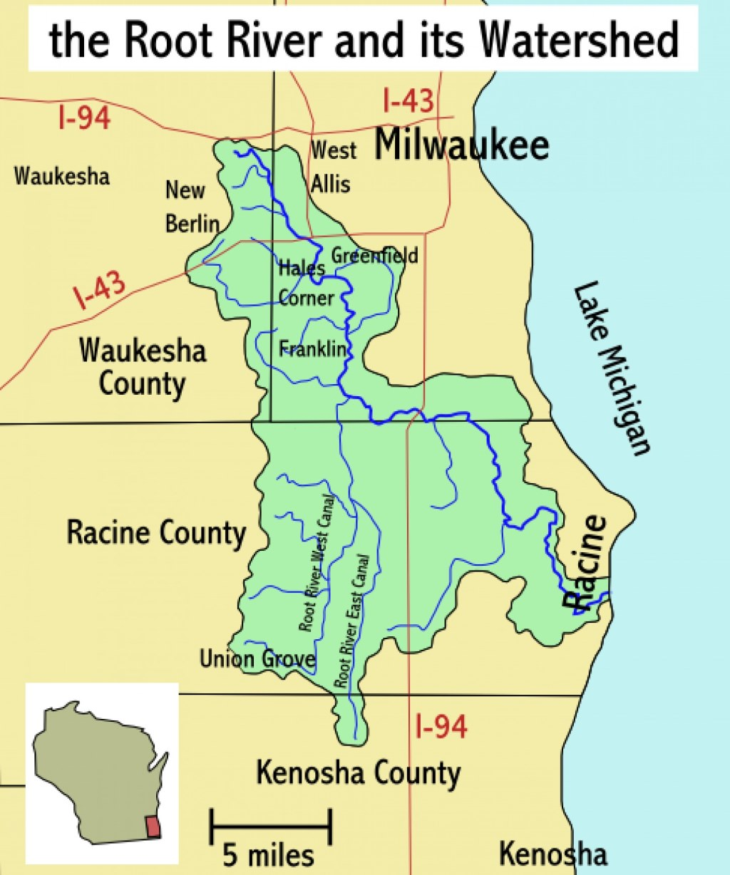 Waukesha will discharge wastewater to Lake Michigan via the Root River, which it has argued will be an environmental benefit to the river. Photo from Wikimedia Commons (CC BY-SA 2.5)