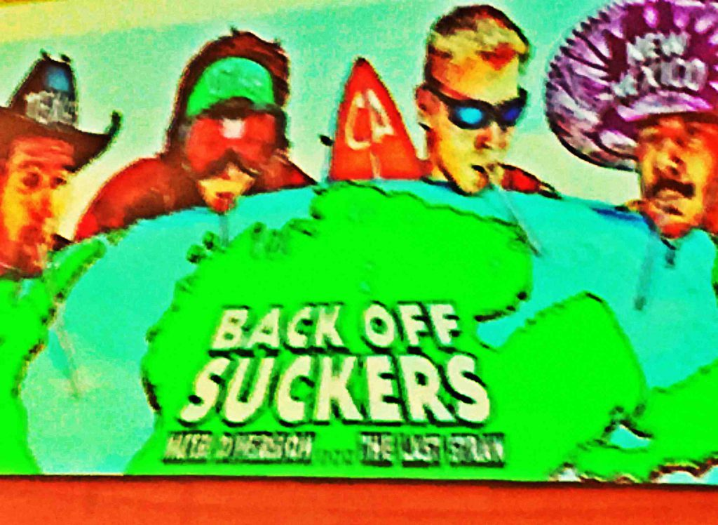 A 2001 billboard placed in Michigan featured offensive caricatures representing Texas, Utah, California and New Mexico to illustrate concerns about pumping Great Lakes water to the American West. Illustration based on photo of billboard by Citizens for Michigan's Future.
