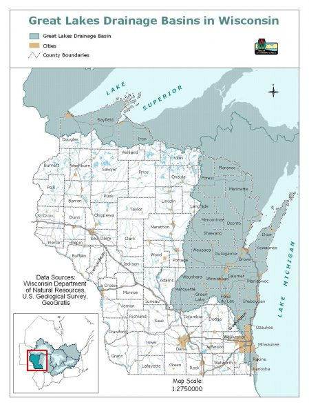 Racine and Kenosha counties straddle the border of the Great Lakes Basin. Map from the Wisconsin Department of Natural Resources.
