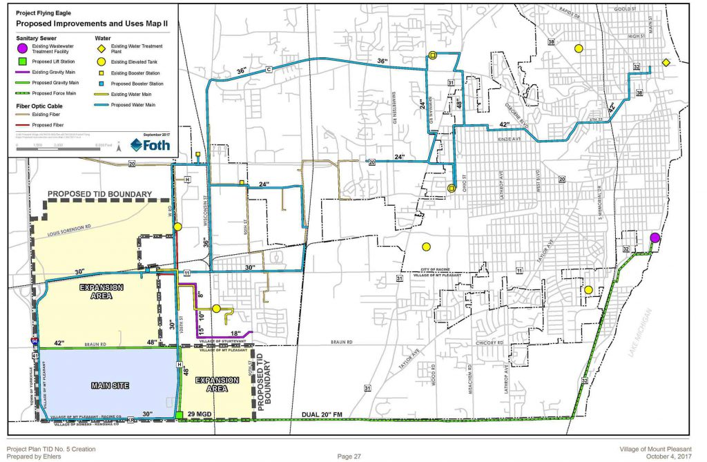 A map of proposed infrastructure improvements for a Foxconn facility in Mount Pleasant highlights a series of new water mains running from the city of Racine. Map from Ehlers/Village of Mount Pleasant.