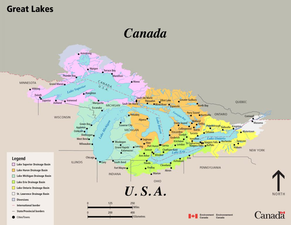 One obscure aspect of the Great Lakes Compact is a provision addressing the potential transfer of water between locations within the Basin. Map from Environment Canada.