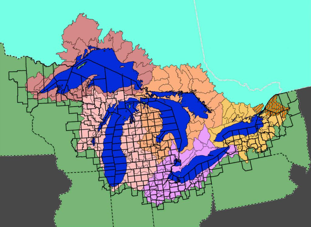 The Great Lakes Basin covers eight U.S. states and two Canadian provinces. Map from the U.S. Environmental Protection Agency.