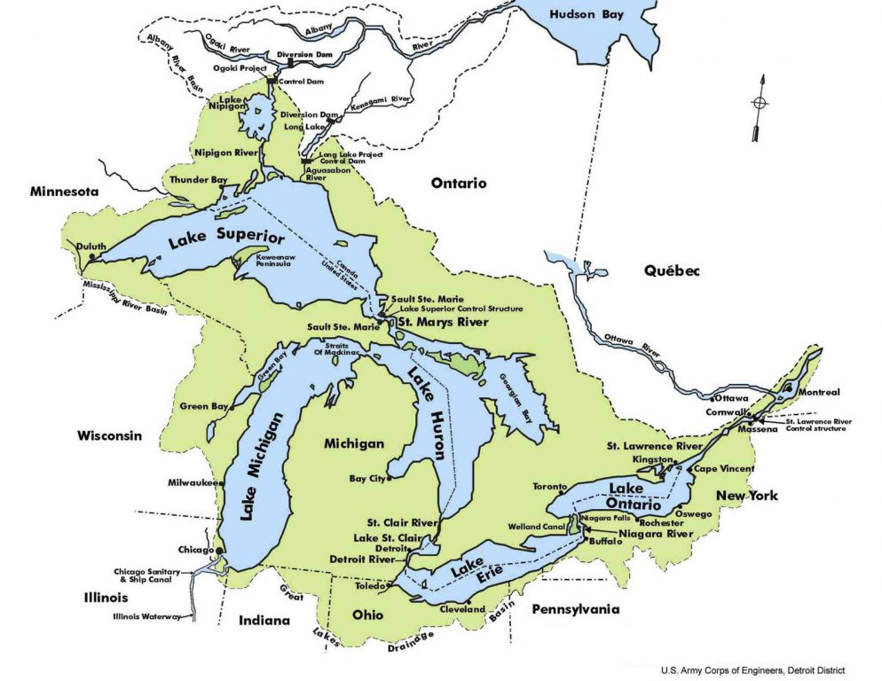 Regulation of Great Lakes water use is regulated by the overlapping terms of the Great Lakes Compact alongside state and provincial laws. Map from the U.S. Army Corps of Engineers.