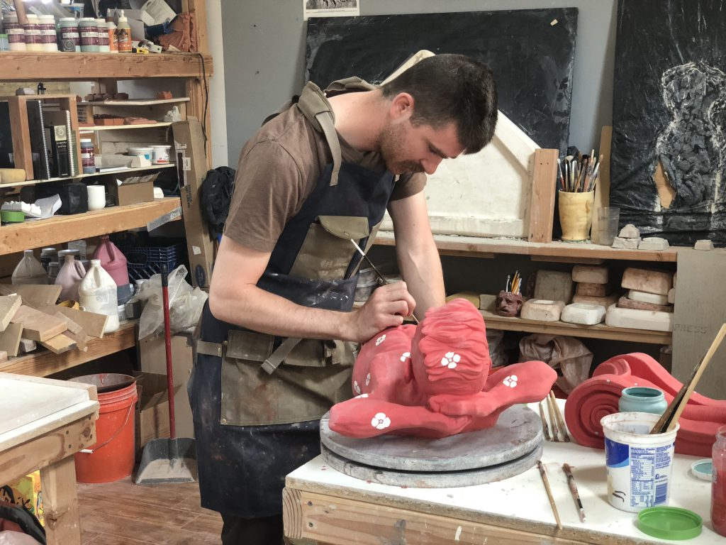 Ben Tyjeski at work in his studio. Photo by Jeramey Jannene.