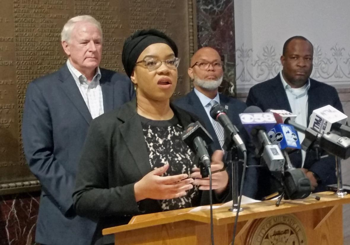 Sumaiyah Clark of the Milwaukee Office of Violence Prevention speaks at a Tuesday news conference, about trauma-informed care in the city. Chuck Quirmbach/WPR