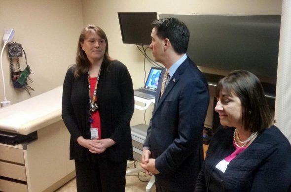 Dr. Angela Rabbitt, Gov. Scott Walker and First Lady Tonette Walker on Tuesday, at Treehouse Child Wellness Center in Elkhorn. Chuck Quirmbach/WPR