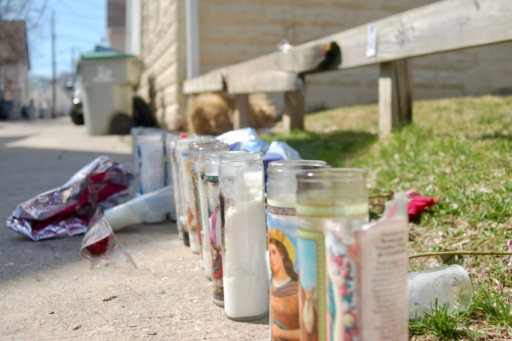 A memorial for Angelica Fiebrink is set up next to an empty lot in the alley on the 1900 block of West Orchard Street. Photo by Edgar Mendez.