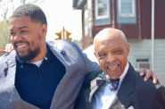 Ald. Khalif J. Rainey (left) and Lester Carter are all smiles before the ceremony. Photo by Jenny Whidden.