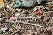 A discarded needle lies in an alley near West Greenfield Avenue. Photo by Edgar Mendez.