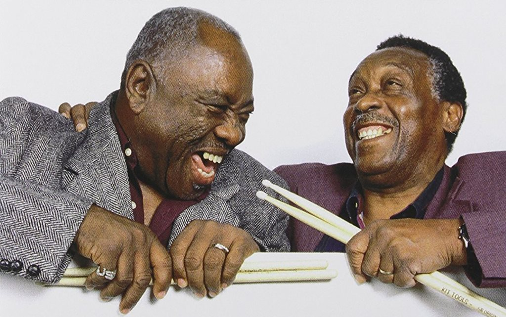 "John ""Jabo"" Starks (left) and Clyde Stubblefield. Photo from the cover of ""Soul of the Funky Drummers."""