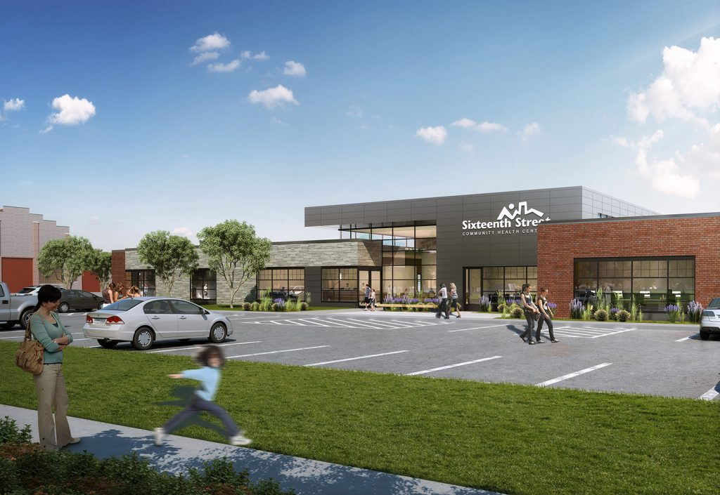 New Sixteenth Street Community Health Centers Clinic. Rendering. Rendering by Kahler Slater.