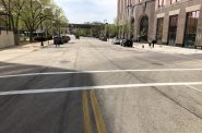 Two-Way to One-Way Divide at N. Market St. for E. State St. Photo by Jeramey Jannene.