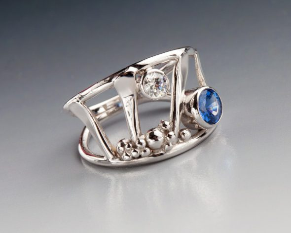 Silver ring with topaz by Catherine Laing.