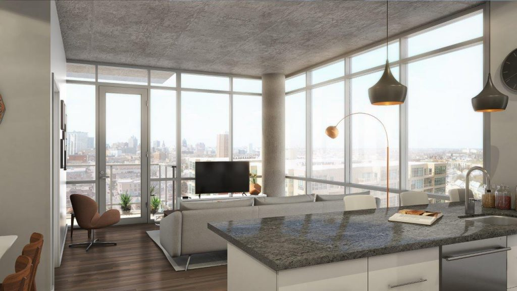 Rendering of apartment at Urbanite. Rendering by Eppstein Uhen Architects.