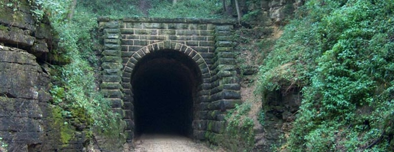 The Badger State Trail runs through the Stewart Tunnel, which is more than 1,000 feet long. Photo from the DNR.