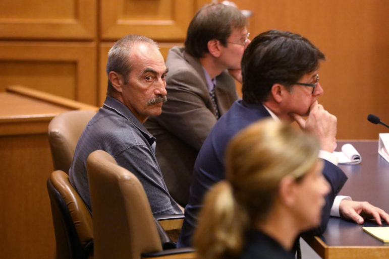 Richard Beranek appears at the Dane County Courthouse with his attorneys Dean Strang and Bryce Benjet on Aug. 10, 2017. Prosecutors dropped charges against him Thursday, May 17, 2018. Photo by Riley Vetterkind / Wisconsin Center for Investigative Journalism.