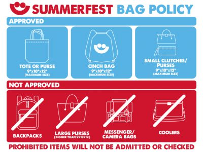 Updated Security Policy in Effect for Summerfest 2018
