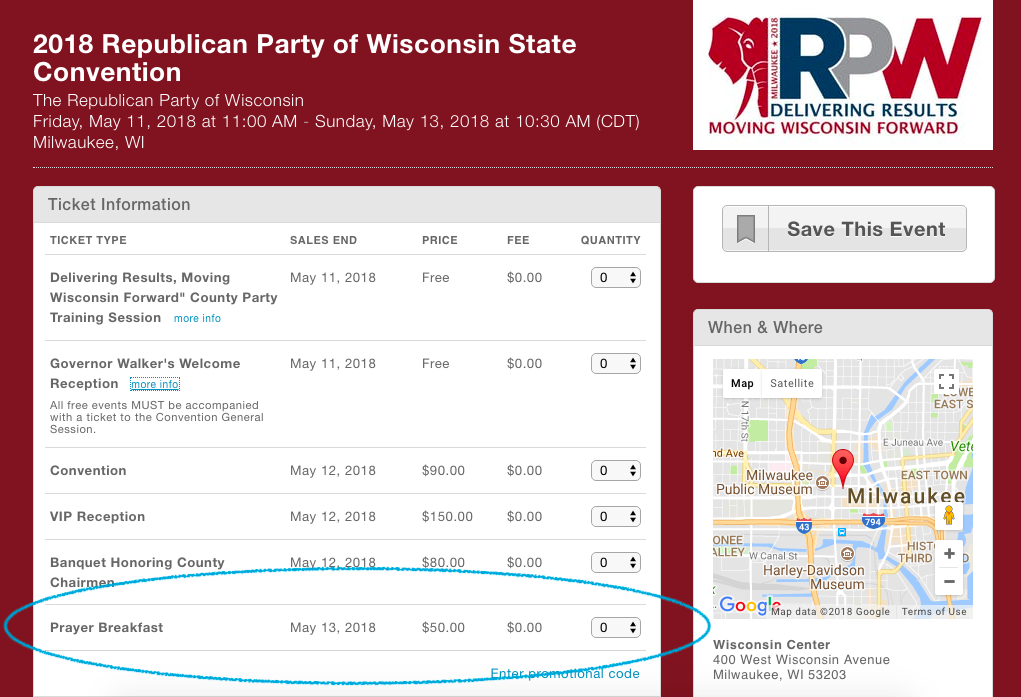Wisconsin Republican State Convention Features 'Pay to Pray' Event With Gov. Walker, Attorney General Brad Schimel