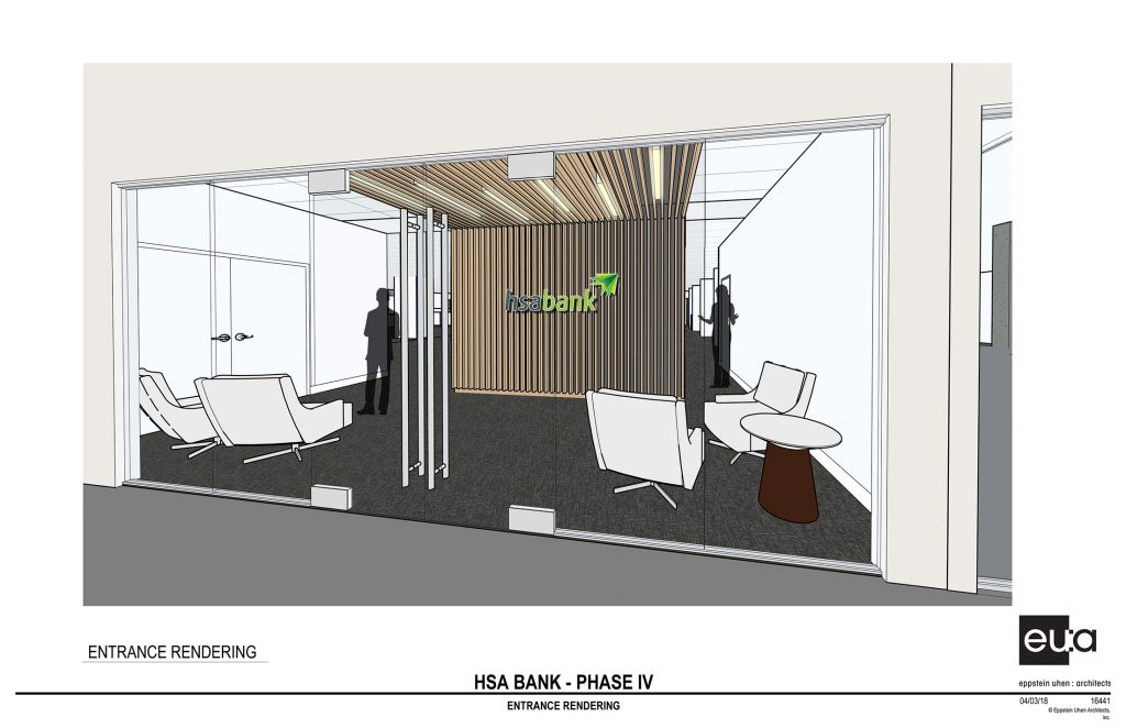HSA Bank entrance. Rendering by Eppstein Uhen Architects.