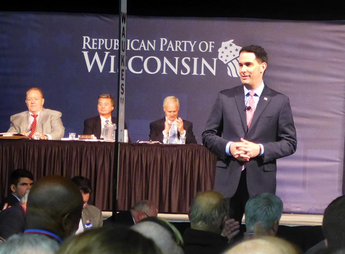 Gov. Scott Walker speaks during the Republican Party of Wisconsin's convention Saturday, May 12, 2018 in Milwaukee. Photo by Laurel White/WPR.