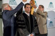 Dr. David Margolis, Aaron Rodgers and Jon McGlocklin. Photo courtesy of the Medical College of Wisconsin.